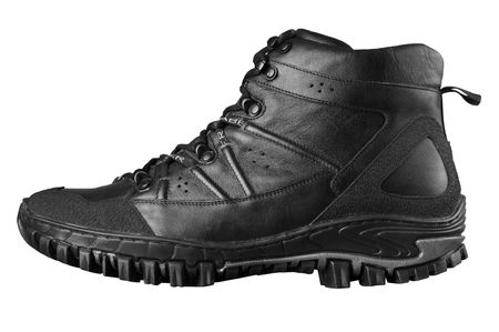 Mans winter leather boots of black color, isolated on white photo