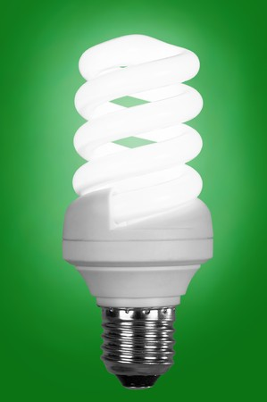 fluorescence: fluorescence lamp of isolated on a green background