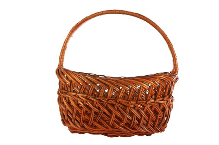 notched: Brown empty basket on a white background