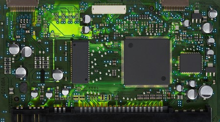 Closeup of electronic circuit board with processor Stock Photo - 7224774