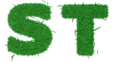 grass font: Two letters of green grass alphabet isolated on white background  Stock Photo