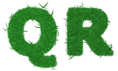 Two letters of green grass alphabet isolated on white background photo