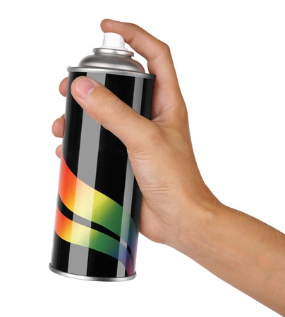 aerosol can: graffiti spray can in hand isolated on white background Stock Photo