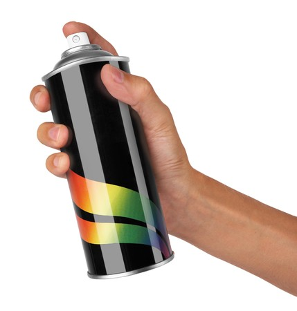 originality: graffiti spray can in hand isolated on white background Stock Photo