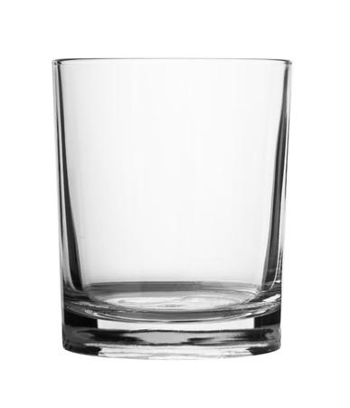 vaso vacio: Vidrio vac�a aislado en un fondo blanco