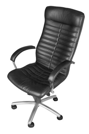 elbow chair: Black office armchair isolated on white background.