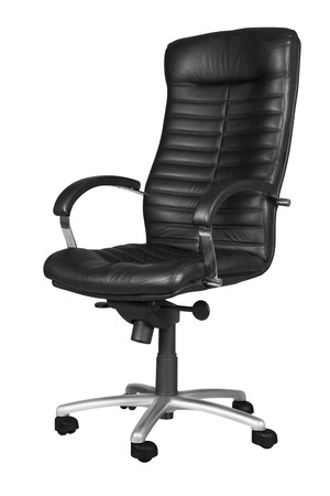 Black office armchair isolated on white background. photo