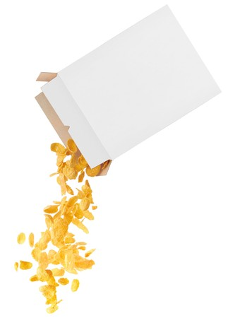 cereal box: Corn-flakes strewed from box isolated on white background