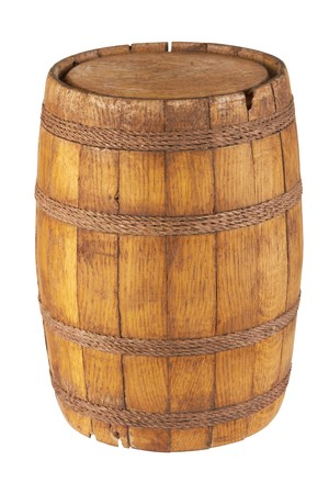 cask: Wooden barrel isolated on white background