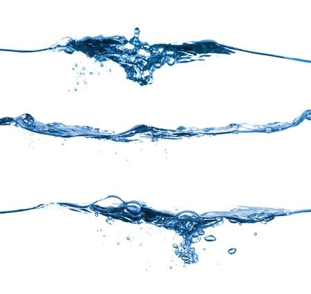 surface: Set of water splashing isolated on white background