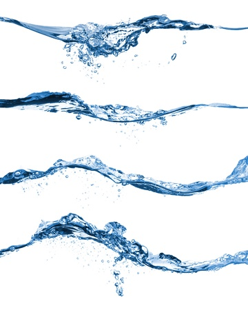 pure water: Set of water splashing isolated on white background