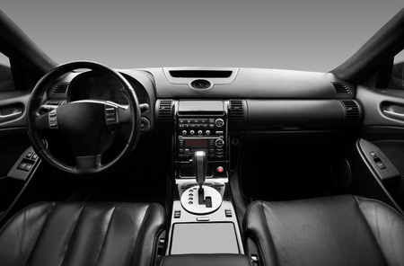 dashboard: View of the interior of a modern automobile showing the dashboard Stock Photo