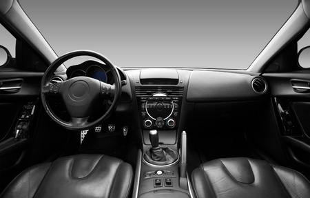 car inside: View of the interior of a modern automobile showing the dashboard Stock Photo