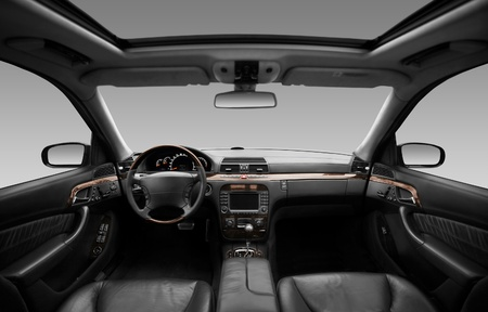 View of the interior of a modern automobile showing the dashboard Stok Fotoğraf