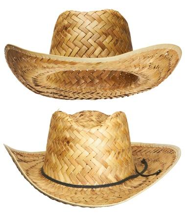 gele rieten stro hoed, geïsoleerd op witte achtergrond Stockfoto