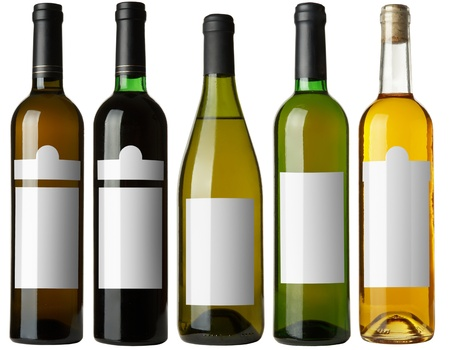 Set 5 bottles of wine with white labels isolated on white background. More - in my portfolio