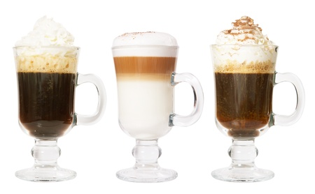 cappuccino: Set of 3 irish coffee isolated on white background Stock Photo