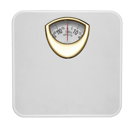 White bathroom scale isolated in white background Stock Photo - 8995146