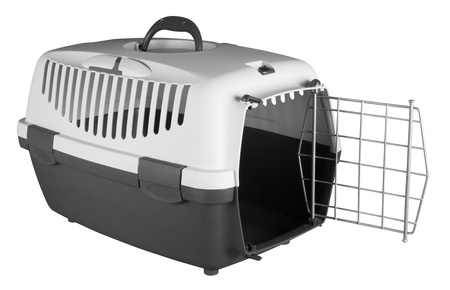 cat carrier: Pet carrier for traveling isolated on white background