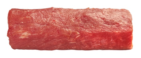 Piece of fresh raw meat isolated on white background photo