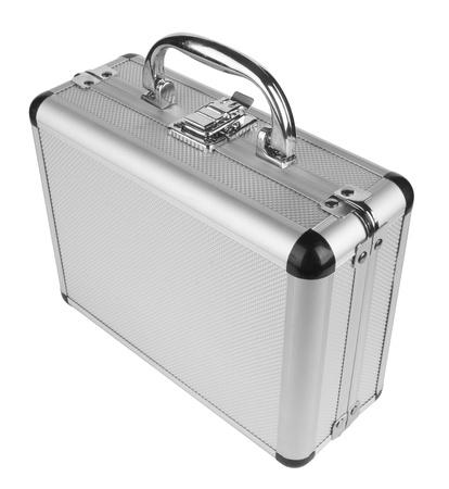 Aluminum suitcase isolated on a white background photo