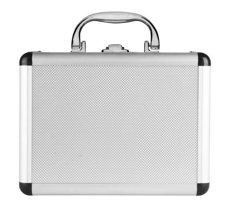 Valigia in alluminio isolato su uno sfondo bianco