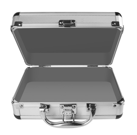 Opened Aluminum suitcase isolated on a white background