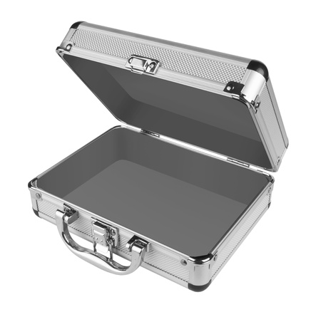 Aperto valigia in alluminio isolato su uno sfondo bianco