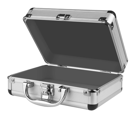 Opened Aluminum suitcase isolated on a white background photo