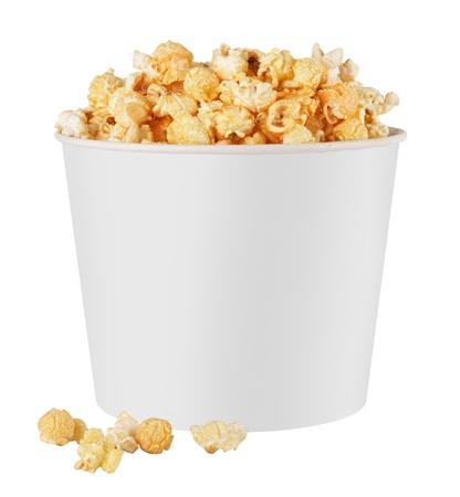 white popcorn box isolated on white background