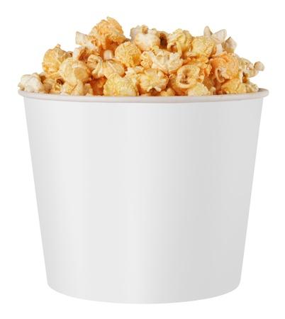 popcorn: casella bianca popcorn isolato su sfondo bianco
