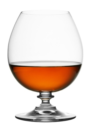 glass of cognac isolated on white background Stock Photo