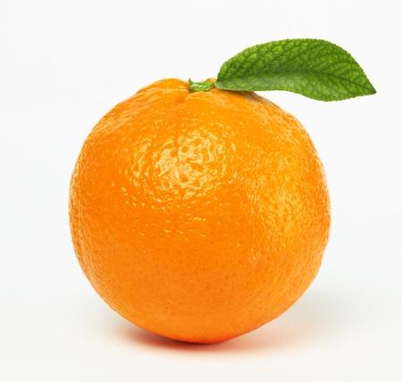 orange peel: orange with leaf on white background