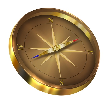 locate: Bronze compass isolated on white background
