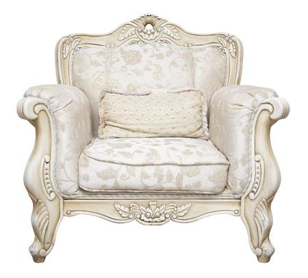silla de madera: Lujoso sill�n aislada sobre fondo blanco Foto de archivo