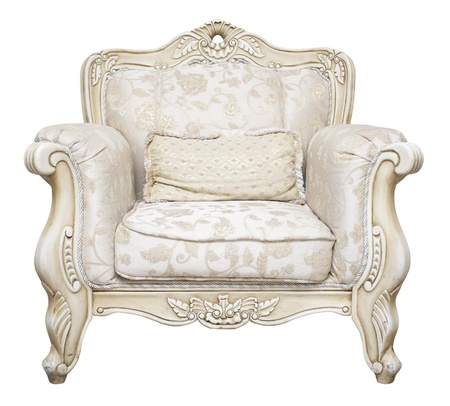 Luxurious armchair isolated on white background photo