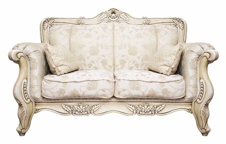 old sofa: Luxurious sofa isolated on white background Stock Photo