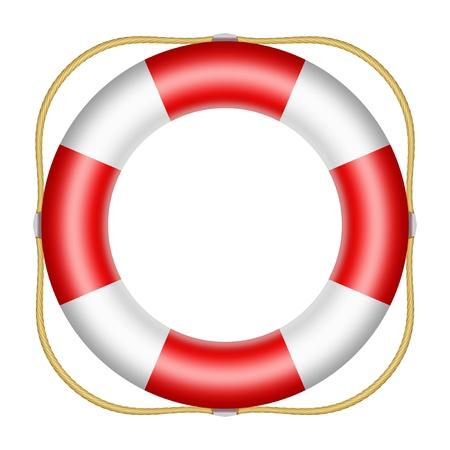 Red lifesaver buoy isolated on white background photo