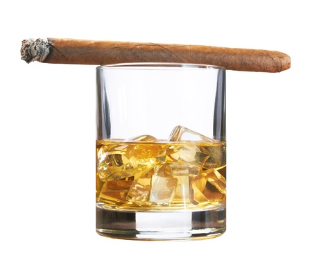 Whiskey with ice cubes and cigar, isolated on white background photo