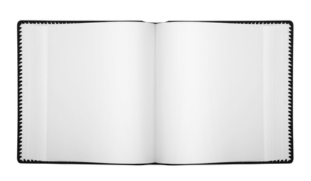Open album with blank pages, isolated on white  Stock Photo - 9991603