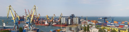 substructure: Panorama view on the port with loading cargo ship