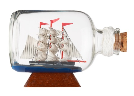 seafaring: Barco en una botella  Foto de archivo
