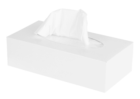 White Box of Tissues Isolated on White Background