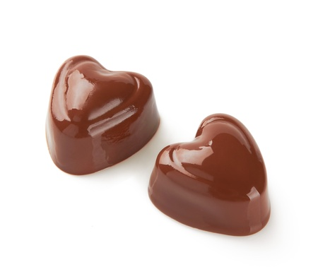 candy hearts: Chocolate sweets on white backrgound Stock Photo
