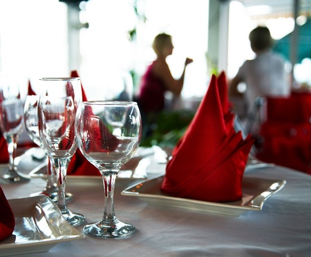 formal party: Empty glasses on table in restaurant