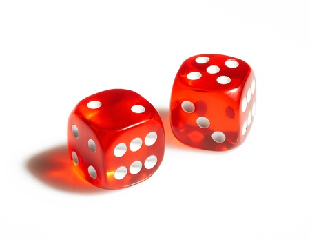 hits: Red and white dices on a white background Stock Photo