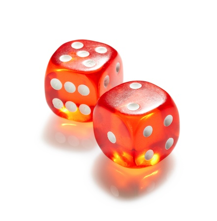 certain: Red and white dices on a white background Stock Photo
