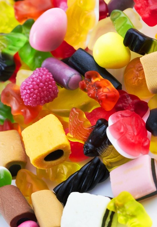 sweet stuff: assortment of colorful candy background, close up