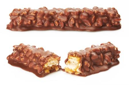 Chocolate bar on white background photo