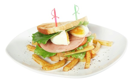 fresh club sandwich on white plate isolated on white photo